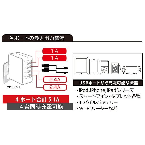 OWLTECHオウルテックスマホ用USB充電コンセントアダプタ5.1A(4ポート:2.4A×2/1A×2)OWL-ACU4F51-BKブラック