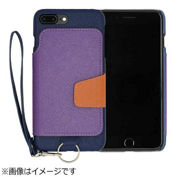 CHEEROチーロiPhone7Plus用レザーケースRAKUNILIGHTPULeatherCaseBookTypewithStrapブルーRCB-7PBL
