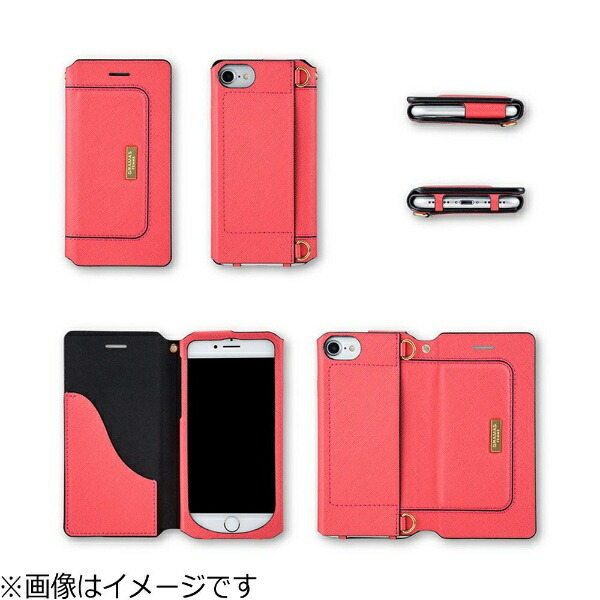 坂本ラヂヲiPhone7Plus用手帳型レザーケースGRAMASFEMMESacBagTypeLeatherCaseグレーFLC296PGY