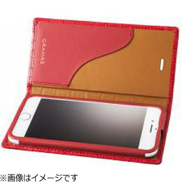 坂本ラヂヲiPhone7用手帳型レザーケースGRAMASCrocoPatternedFullLeatherCaseレッドGLC6136RD
