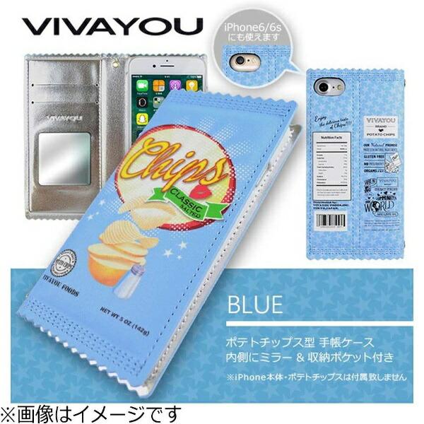 エムディーシーMDCiPhone7用VIVAYOU手帳型ケースポテトチップスブルーIP772626