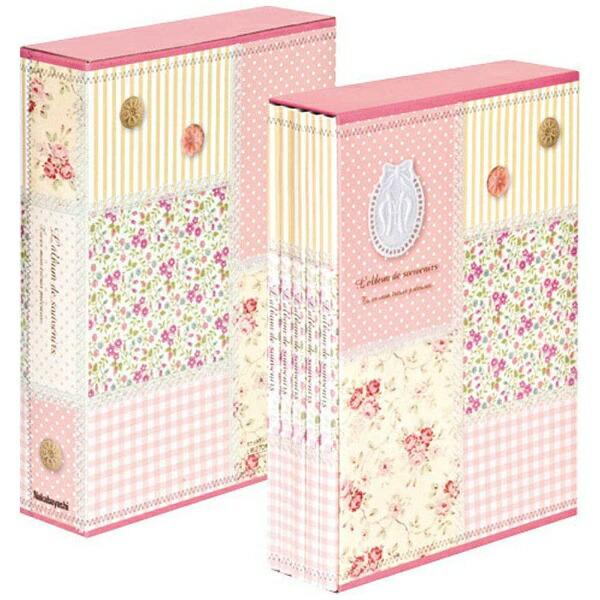 ナカバヤシNakabayashi5冊組ソフトボックスアルバムパッチワーク柄(ピンク)5PL-270-31-P[5PL27031P]
