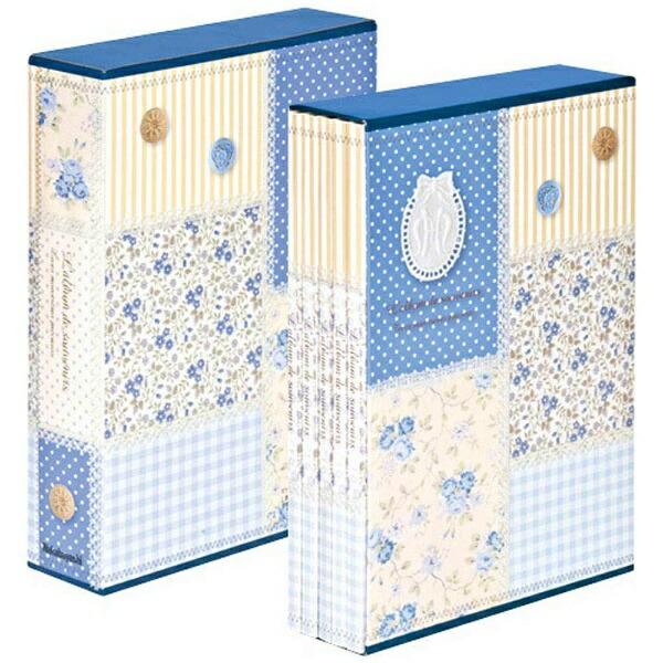 ナカバヤシNakabayashi5冊組ソフトボックスアルバムパッチワーク柄(ブルー)5PL-270-31-B[5PL27031B]