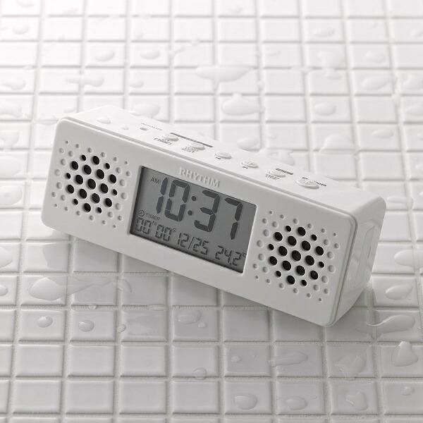 リズム時計RHYTHM置き時計アクアプルーフミュージック白8RDA73RH03