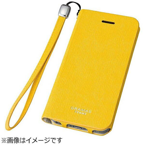 坂本ラヂヲiPhoneSE(第1世代)4インチ/5s/5用レザーケースFEMMEColoFlapLeatherCaseイエローFLC226YLポケット付+ハンドストラップ