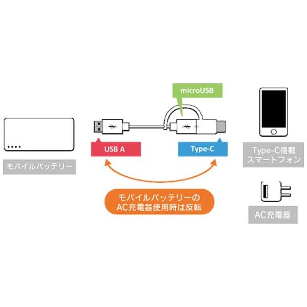MSソリューションズ[Type-C+microUSB]ケーブル充電・転送0.15mホワイトLEPLUSLP-TCBC01WH[0.15m]