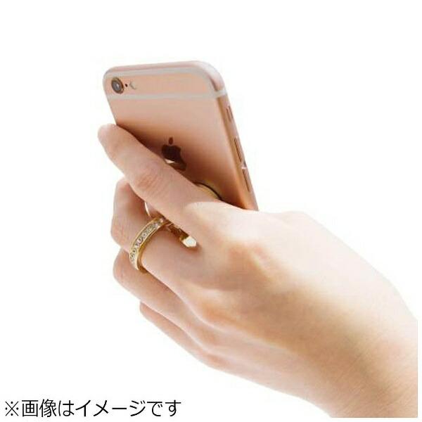 FOXスマートフォン用[幅75mm/5インチ]Multibookcase+Criatalringstandホワイト/リボンTUMUCRWR