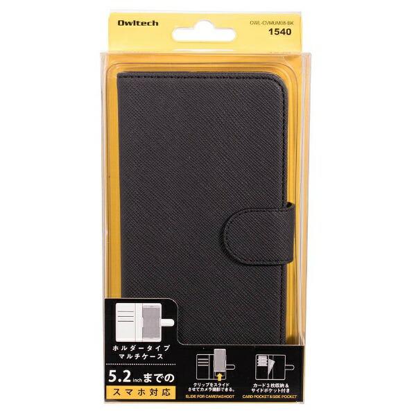 OWLTECHオウルテックスマートフォン用[幅73mm/5.2インチ]PUレザースライド式手帳型マルチケースブラックOWL-CVMUM08-BK