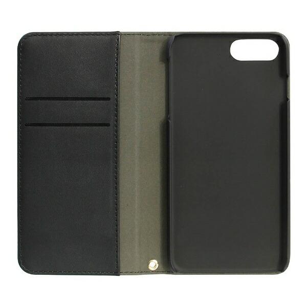 OWLTECHオウルテックiPhone7Plus用ベロ無しキャンバス地×PUレザー手帳型ケースグレーxブラックOWL-CVIP7P19-GYBK