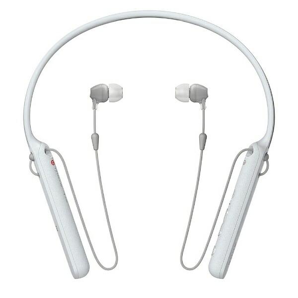 ソニーSONYブルートゥースイヤホンカナル型ホワイトWI-C400WZ[リモコン・マイク対応/ワイヤレス(ネックバンド)/Bluetooth][ワイヤレスイヤホンWIC400WZ]