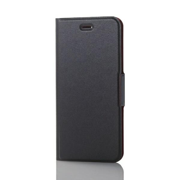 エレコムELECOMiPhone8Plus手帳型ソフトレザーカバー薄型磁石付ブラックPM-A17LPLFUBK