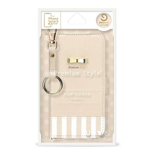 PGAiPhoneX用手帳型フリップカバーストライプリボンホワイトPG-17XFP25WH