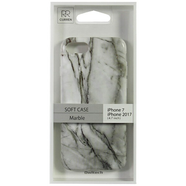 OWLTECHオウルテックiPhone8用背面ケースTPU大理石柄ホワイトCURRENOWL-CVIP730-WH