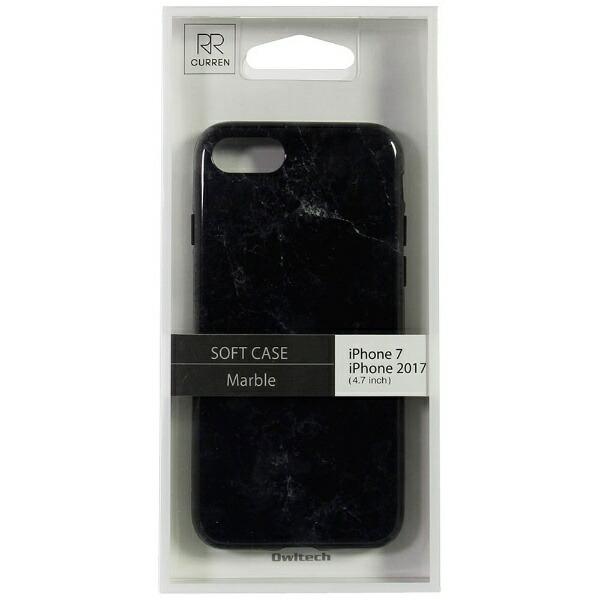 OWLTECHオウルテックiPhone8用背面ケースTPU大理石柄ブラックCURRENOWL-CVIP730-BK