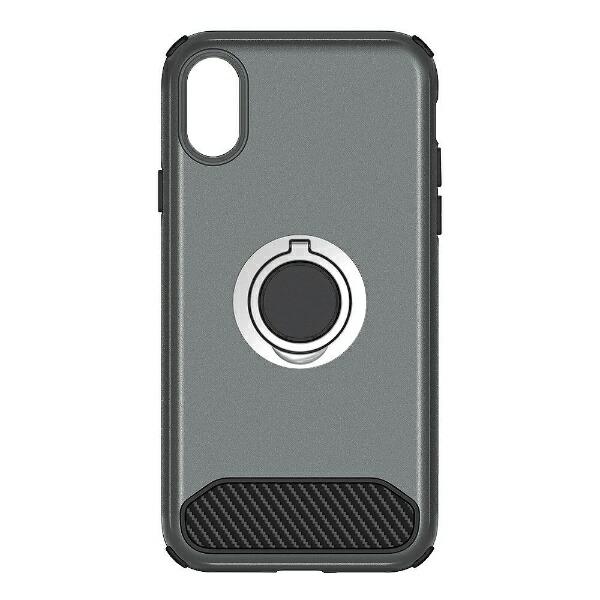 OWLTECHオウルテックiPhoneX用背面ケースバンカーリング付ガンメタルSTDOWL-CVIP829-GM