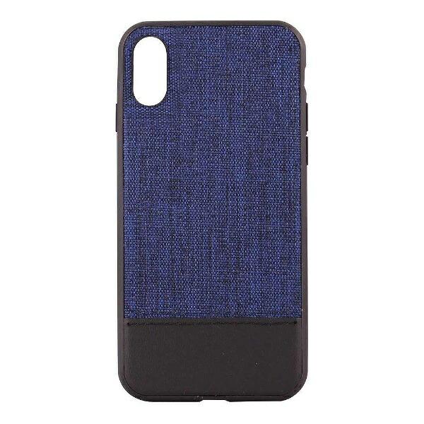 OWLTECHオウルテックiPhoneX用背面ケースファブリックxPUブルーxブラックSTDOWL-CVIP825-BLBK