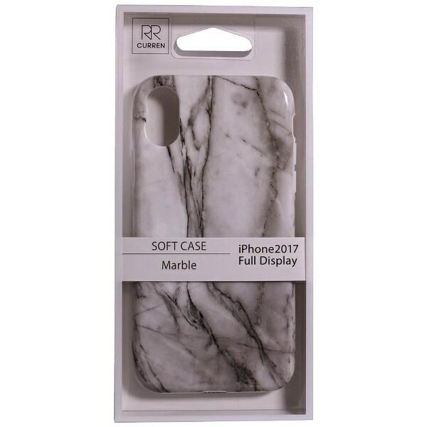 OWLTECHオウルテックiPhoneX用背面ケースTPU大理石柄ホワイトCURRENOWL-CVIP819-WH