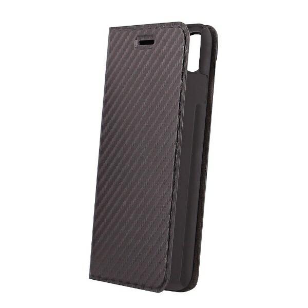 OWLTECHオウルテックiPhoneX用手帳型ケースカーボン柄ブラックSTDOWL-CVIP813-CBBK