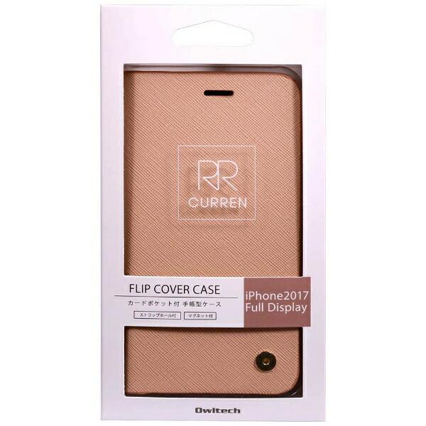 OWLTECHオウルテックiPhoneX用手帳型ケースサフィアーノ柄アイボリーCURRENOWL-CVIP804-IV