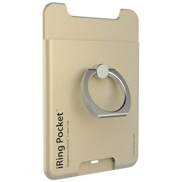 UNIQユニーク〔スマホリング+ポケット〕iRingPocketゴールドUMS-IR03PKGD