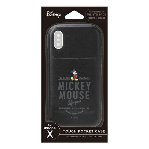 PGAiPhoneX用ディズニータフポケットケースミッキーマウス・ブラックPG-DCS301MKY