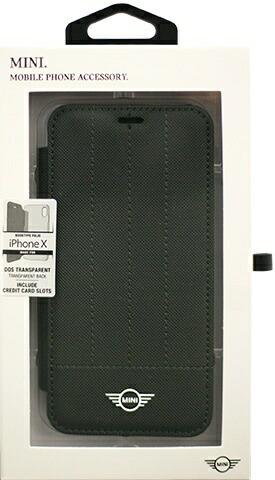 エアージェイair-JiPhoneX用MINIPUレザー手帳型ケースDebossedLinesブラックMIDAFLBKTPXBK