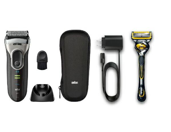 ブラウンBRAUN3080s-S-P1メンズシェーバーシリーズ3本体:ブラック/シルバーヘッド:ブラック/シルバー[3枚刃/国内・海外対応][電気シェーバー男性髭剃り3080S]