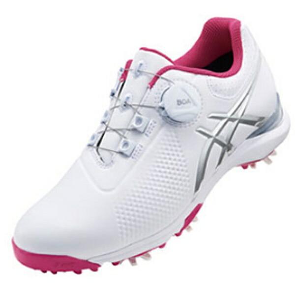 アシックスasics24.5cmレディースゴルフシューズGEL-ACETOUR-LADYBoa(ホワイト×シルバーグレー/2E)TGN924