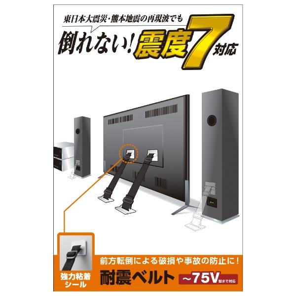 エレコムELECOMTV用耐震ベルト[~75V用/強力粘着シールタイプ/2本入り]TS-002N2
