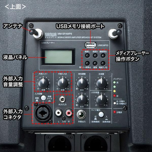 サンワサプライSANWASUPPLYワイヤレスマイク付き拡声器スピーカーMM-SPAMP8