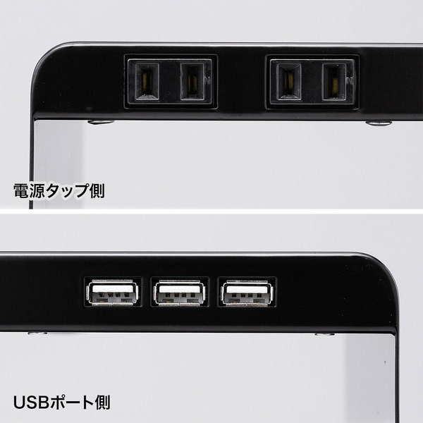 サンワサプライSANWASUPPLY電源タップ+USBポート付机上ラックW600xD200ブラック