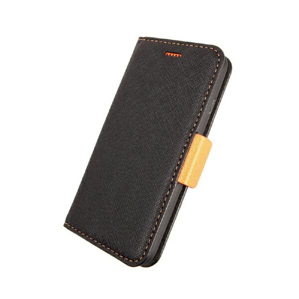 サンクチュアリSanctuaryCoralloNU(エヌユー)合皮手帳型ケースforiPhone8/7/6s/6/ブラックオレンジ