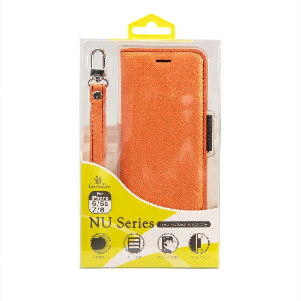 サンクチュアリSanctuaryCoralloNU(エヌユー)合皮手帳型ケースforiPhone8/7/6s/6/オレンジブラック