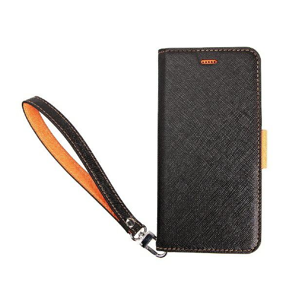 サンクチュアリSanctuaryCoralloNU(エヌユー)合皮手帳型ケースforiPhone8Plus/7Plus/6sPlus/6Plus/ブラックオレンジ