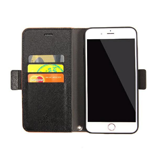サンクチュアリSanctuaryCoralloNU(エヌユー)合皮手帳型ケースforiPhone8Plus/7Plus/6sPlus/6Plus/オレンジブラック