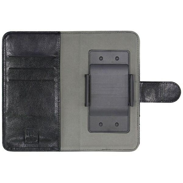 OWLTECHオウルテックスマートフォン用[幅74mm/5.2インチ]デニム×レザーデザイン手帳型マルチケースTHEOWL-CVMUM10-IBKインディゴブルーデニム×ブラック