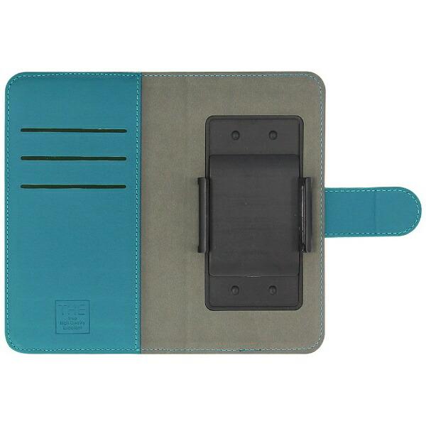 OWLTECHオウルテックスマートフォン用[幅74mm/5.2インチ]キャンバス×レザーデザインマルチケース手帳型ケースOWL-CVMUM11-BKTBブラック×ターコイズブルー