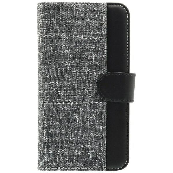 OWLTECHオウルテックスマートフォン用[幅74mm/5.2インチ]キャンバス×レザーデザインマルチケース手帳型ケースOWL-CVMUM11-GYBKグレー×ブラック