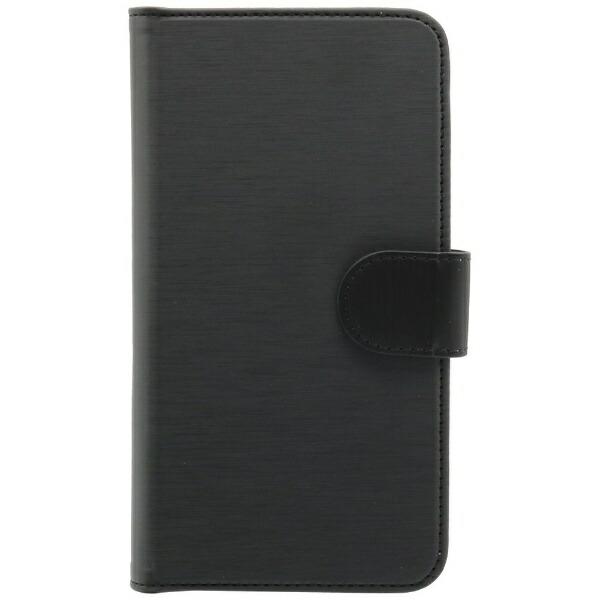 OWLTECHオウルテックスマートフォン用[幅74mm/5.2インチ]ヘアライン手帳型マルチケースSTDOWL-CVMUM13-BKヘアライン×ブラック