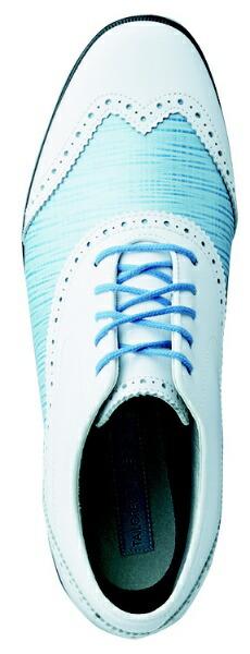 フットジョイFootJoy22.5cm/靴幅:3EレディーススパイクレスゴルフシューズTailoredCollection(White×BlueLinen)#91687