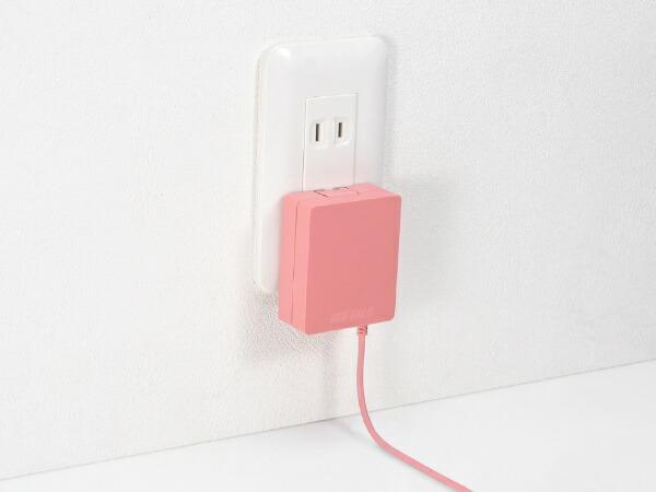 BUFFALOバッファロー[microUSB]ケーブル一体型AC充電器2.4AケーブルピンクBSMPA2418BC1PK[1ポート]