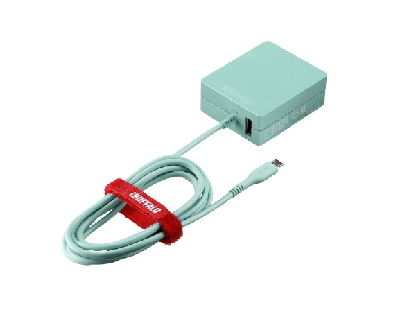 BUFFALOバッファロー[microUSB]ケーブル一体型AC充電器APS2.4Aケーブル+USBブルーBSMPA2418BC2BL[2ポート/SmartIC対応]