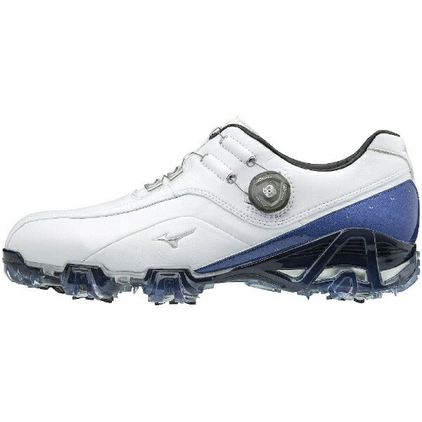 ミズノmizuno24.5cmメンズゴルフシューズジェネム008ボア(ホワイト×ブルー)51GM1800