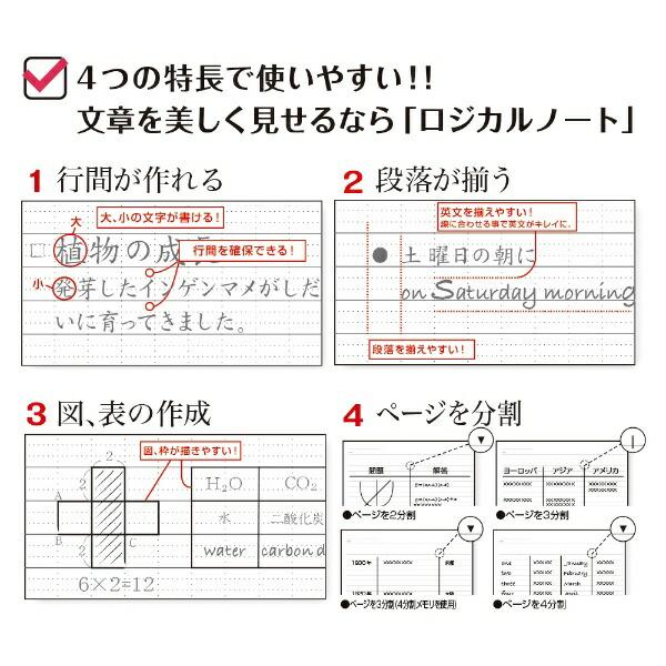 ナカバヤシNakabayashiロジカル・エアーノート3冊パック(A4・A罫・40枚)ノ-A404A-3P