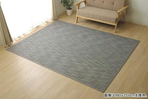 イケヒコIKEHIKOラグカーペット無地シンプルバンブー竹『DXフォース』(190×190cm/グレー)