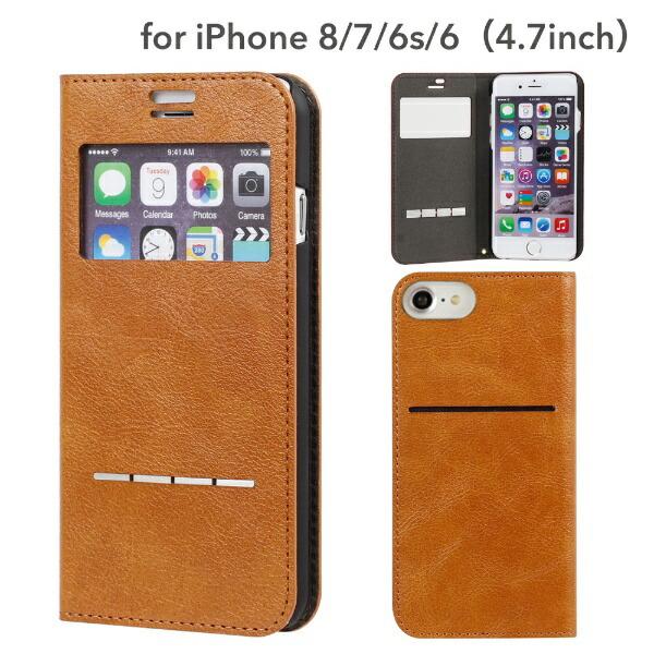 HAMEEハミィiPhoneSE(第2世代)4.7インチ/iPhone8/7/6s/6専用CERTAFLIPケルタフリップ窓付きダイアリーケース(キャメル)276-848463キャメル