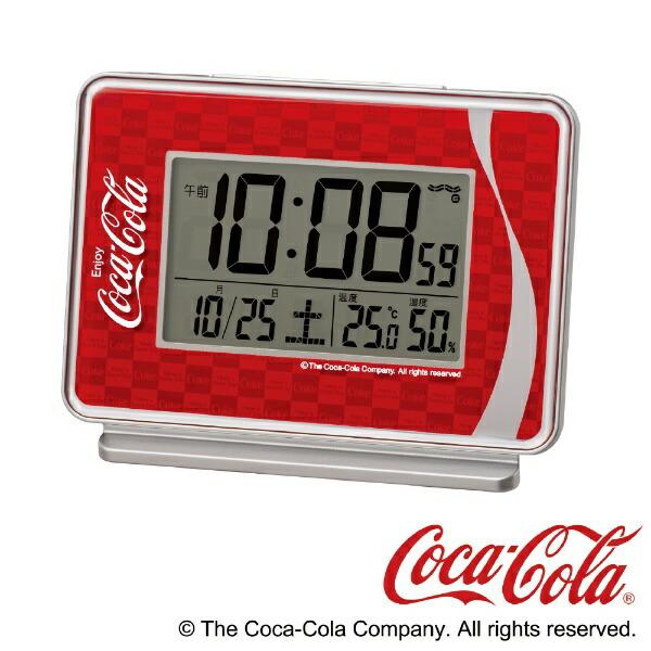 セイコーSEIKO目覚まし時計【コカ・コーラ】銀色メタリックAC606R[デジタル/電波自動受信機能有]