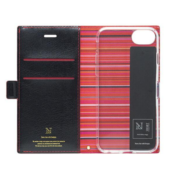 ナチュラルデザインNATURALdesigniPhone8/7/6s/6(4.7)アクセントボーダー手帳型ケース