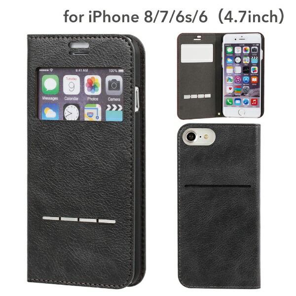 HAMEEハミィiPhoneSE(第2世代)4.7インチ/iPhone8/7/6s/6専用CERTAFLIPケルタフリップ窓付きダイアリーケース276-848456チャコールブラック