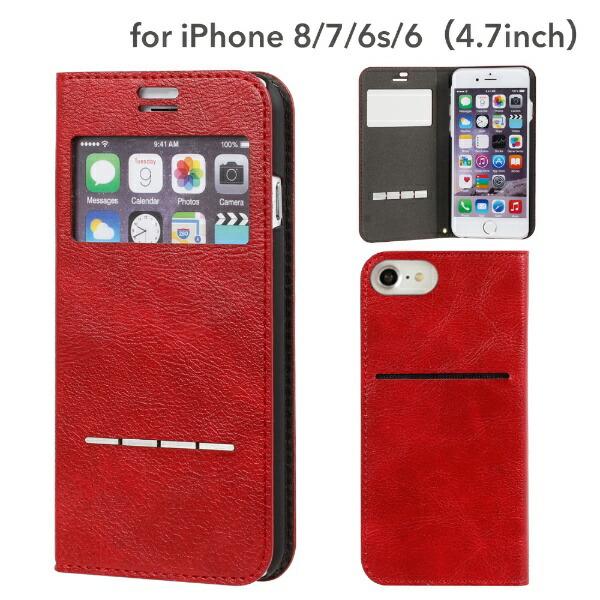 HAMEEハミィiPhoneSE(第2世代)4.7インチ/iPhone8/7/6s/6専用CERTAFLIPケルタフリップ窓付きダイアリーケース(レッド)276-848470